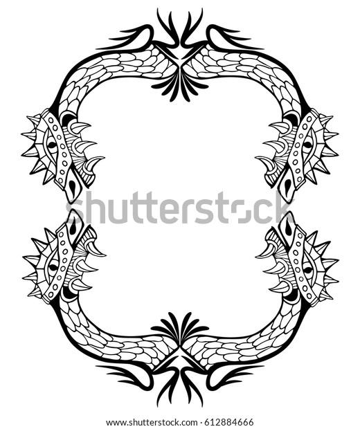 Dragon Frame Coloring Book Tattoo Vector Stock Vector Royalty Free