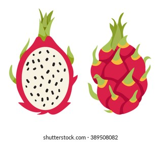 Dragon fruit. Half of the cut fruit. Ripe exotic. Isolated vector illustration on white background