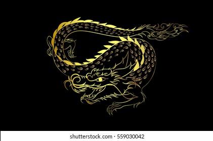 Dragon gold painting illustration design over black background