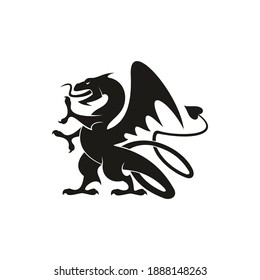 Dragon or gryphon isolated medieval heraldry beast. Vector mythical creature with eagle legs and wings