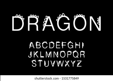 Dragon hand drawn vector type font in cartoon comic style sharp back elements dinosaur lettering