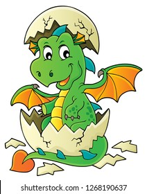 Dragon hatching from egg image 1 - eps10 vector illustration.