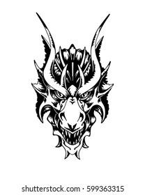 Dragon head. Hand drawn vector illustration