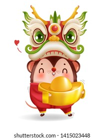 Dragon head. Little rat with holding chinese gold. Ingot. zodiac mice of Animal lucks year 2020 of the rat. Chinese New Year. Cartoon vector illustration isolated on a white background.