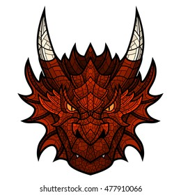 Dragon head mascot in color mosaic style.
