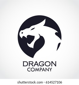 dragon head negative shape circle logo