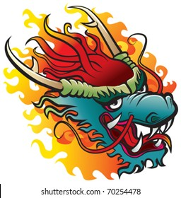 Dragon head. Original artwork inspired with traditional Chinese and Japanese dragon arts.