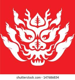 dragon head tattoo design by Thai pattern vector