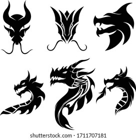 Dragon head tattoo logo vector template