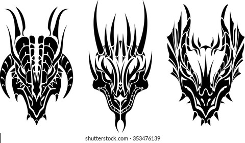7a2de3863 Dragon Head Tattoo-Three variations tribal style tattoo set