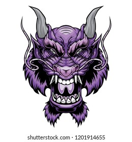 Dragon head. Vector illustration for a mascot and T-shirt graphic.