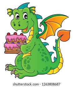 Dragon holding cake theme image 1 - eps10 vector illustration.