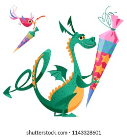 Dragon holding  traditional German candy cone in the paws on the first school day. Bird bearing German candy cone. Vector illustration