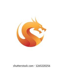 Dragon illustration with modern gradient color, dragon logo vector icon