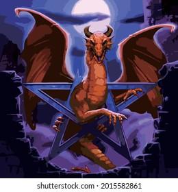 Dragon illustration vector art at night accompanied by the full moon