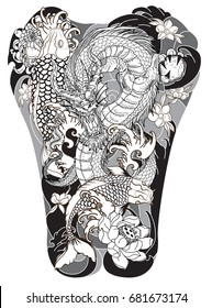 Dragon and Koi fish with peony,Chrysanthemum,Rose,Sakura flower,Lotus and wave tattoo,Japanese tattoo for Back body.Japanese carp line drawing coloring book vector image.Koi carp with Water splash.