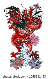 Dragon with Koi Dragon and lotus flower tattoo.peach with Sakura and plum flower on cloud background.Traditional Japanese tattoo for print to t-shirt.Asian Tattoo design.