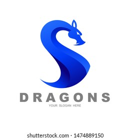dragon and letter s logo, s- shaped dragon logo , 3d icon,