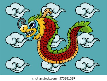 Dragon line art color with cloud