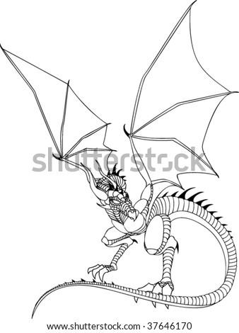 Dragon Line Drawing Stock Vektorgrafik Lizenzfrei 37646170