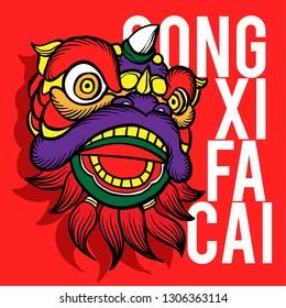 Dragon Lion barongsai china vector illustration gong xi fa cai new year
