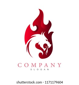 dragon logo with burning fire