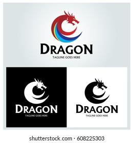 Dragon logo design template. Dragon head logo. concept. Vector illustration