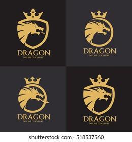 Dragon logo design template ,Dragon shield logo design concept ,Vector illustration