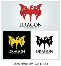 dragon logo design template dragon shield stock vector royalty free