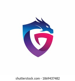 Dragon logo with letter G concept, shield concept
