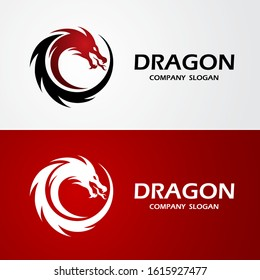 dragon logo template silhouette flat color design, vector illustration