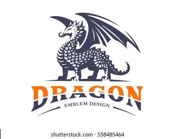 Dragon logo - vector illustration, emblem design on white background.
