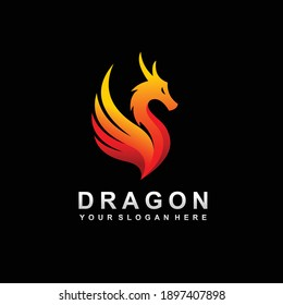 Dragon logo with wing concept