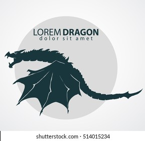 Dragon logo with a wing silhouette,  china zodiac symbol, business emblem. Flying Animal sign. Vector