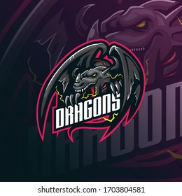 dragon mascot logo design vector with modern illustration concept style for badge, emblem and tshirt printing. angry dragon illustration for sport and esport team.