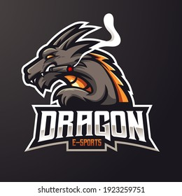 Dragon mascot logo design vector with modern illustration concept style for badge, emblem and t-shirt printing