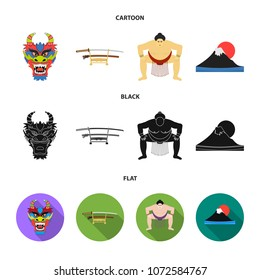 Dragon mask, katano, a man is a sumo player, a fujiama mountain.Japan set collection icons in cartoon,black,flat style vector symbol stock illustration web.