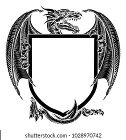 A dragon medieval heraldic coat of arms crest shield emblem