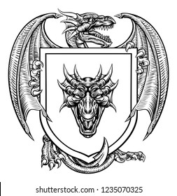 A dragon medieval heraldic coat of arms crest emblem shield.
