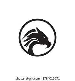 Dragon monster logo design vector template