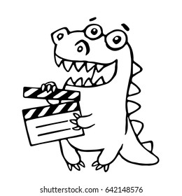 Dragon with movie clapper board. Vector illustration. Funny cute imaginary character.