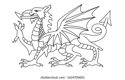 dragon outline. black and white wales flag. proportion 3:5