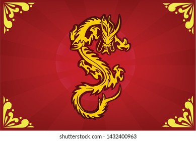 Dragon pattern on red background :Symbol of Power of Chinese believe