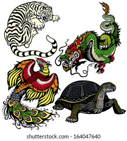 dragon, phoenix, turtle and tiger .Four celestial feng shui animals isolated on white background
