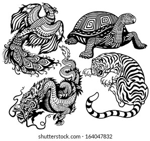 dragon, phoenix, turtle and tiger .Four celestial feng shui animals black and white set
