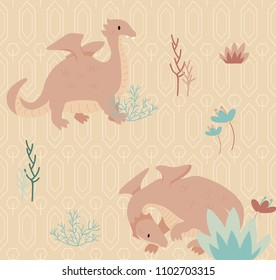 Dragon pink blush color seamless pattern