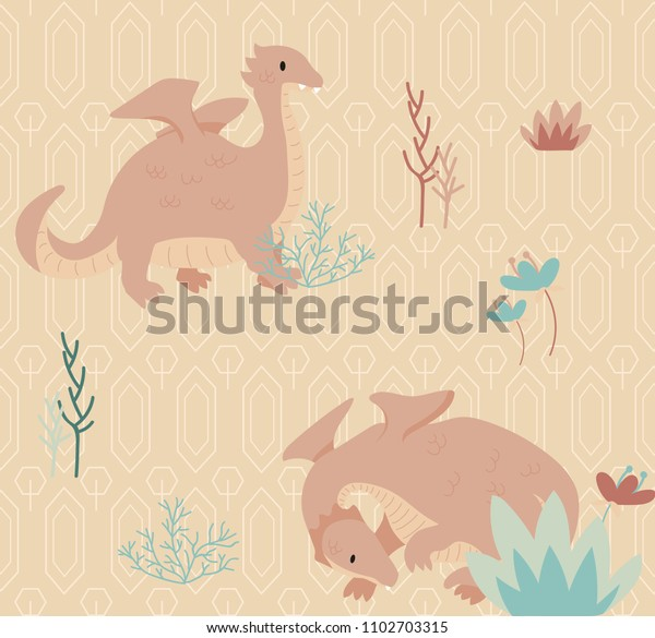 Dragon pink blush color seamless pattern. Cartoon vector pattern perfect for kids, children textile.