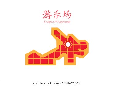 Dragon Playground Singapore Icon Vector Illustration
