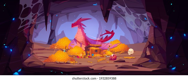 Dragon protect gold pile in cave, fantasy character guard treasure in mountain cavern. Magic creature of medieval fairytale, flying animal, book or computer game personage, Cartoon vector illustration