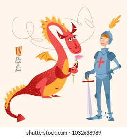Dragon with a rose and knight with sword. Diada de Sant Jordi (the Saint George's Day). Dia de la rosa (The Day of the Rose). Dia del llibre (The Day of the Book). Traditional festival in Catalonia, Spain